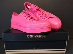 NIB Converse All Star Women's Low Rise Platform Bright Neon Pink Sz US 8.5  #Converse #halfshoes
