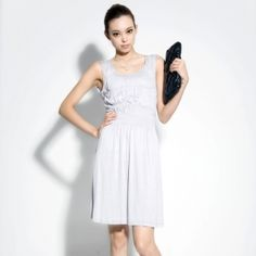 $46.00 2013 spring new brand Women counters the genuine plain gray cotton knitted vest dress primer the dress summer