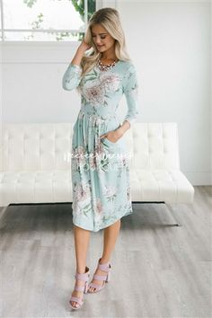 88f1aa3f49ce Mint White Gray Floral Dress | Best Place To Buy Modest Dress Online | Modest  Dresses and Skirts for Church