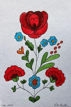 Rita Barton: Hungarian Folk Art watercolor birthday card