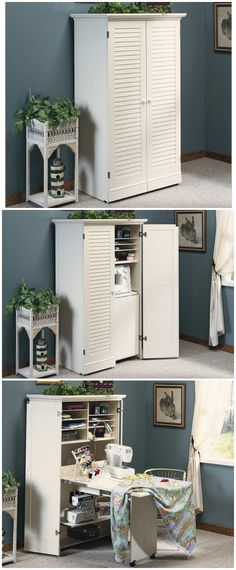 ideas craft room closet sewing spaces for 2019 Craft Room Office, Room Organization, Decor, Small Spaces, Sewing Storage, Craft Room Organization, Craft Armoire, Sewing Table, Home Decor