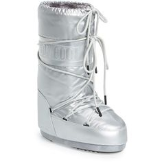 Women's Tecnica Classic Moon Boot ($140) ❤ liked on Polyvore featuring shoes, boots, silver, silver boots, water resistant boots, lightweight shoes, lightweight boots and moon boots