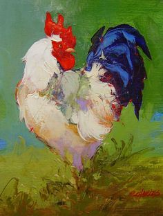 chickens and roosters Rooster Painting, Rooster Art, Animal Paintings, Animal Drawings, Art Drawings, Chicken Painting, Chicken Art, Chickens And Roosters, Found Art