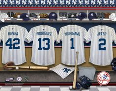 New York Yankees MLB Baseball - Personalized Locker Room Print / Picture. Have you or someone you know ever dreamed about playing next to your favorite New York Yankees players. You or someone you know can be right there in the locker room with New York Yankees players! Optional framing with mat is available. Perfect for gifts, rec room, man cave, office, child's room, etc.  (http://www.oakhousesportsprints.com/new-york-yankees-locker-room-print/)