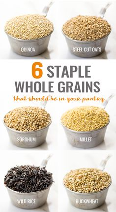 Great resource --> The six staple whole grains that should be in your pantry. All are great sources of protein, fiber and vitamins, and are naturally gluten-free. // @SimplyQuinoa