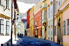 Donuted downtown street in Sopron #painting #colors