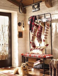 oversized knit stockings in red and white