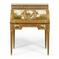 A gilt-bronze-mounted ebony inlaid satinwood and vernis Martin bureau à cylindre stamped twice C.C. Saunier JME Louis XVI, circa 1785 with a three-quarter galleried white veined marble top above three drawers, the roll-top revealing a fitted interior with three drawers veneered in kingwood and tulipwood with fruitwood banding,