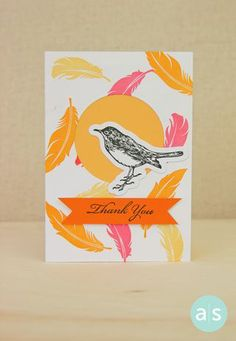 Feathers make a fun and colorful background on this thank you card featuring stamps from A Muse Studio's Make a Wish and You're Too Kind stamp sets and matching dies.   Follow us for lots more card ideas! #amusestudio #handstamped #diecut
