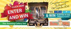 Enter competition and stand a chance to WIN this stunning cutlery set AND if you followed our page on F or T you will get an EXTRA R1000 Robin Mills Auction Voucher upon winning! Shopping Vouchers, Cutlery Set, Rum, Robin, Competition, Auction, How To Apply, Flatware, Robins