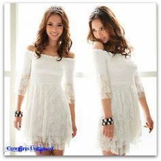 TOP SELLER!!!White Lace 3/4 Bell Sleeve Smocked Top Babydoll Style Western Tunic Top Mini Dress #dress #minidress #lace #offtheshoulder #boutique #fashion #beautiful