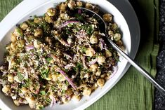 lentil chickpea salad with feta and tahini