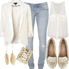 Steve Madden studded shoes. White tank. Jeans. White blazer.