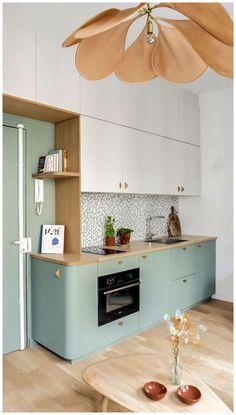 Chef Kitchen Decor, Kitchen Room Design, Kitchen Cabinet Colors, Interior Design Kitchen, New Kitchen, Kitchen Ideas, Summer Kitchen, Mint Kitchen, Kitchen Cabinets