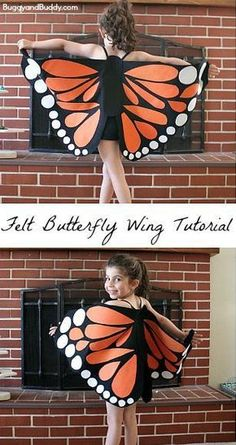 Felt Butterfly Wing Tutorial: Super easy DIY butterfly wings- make to resemble a monarch or any colorful butterfly! Makes a great homemade costume or dress up for pretend play! Almost no-sew (just a few easy stitches!) ~ BuggyandBuddy.com