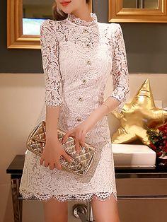 #AdoreWe #StyleWe Mini Dresses - Designer DABUWAWA White Crocheted Lace Girly Stand Collar Mini Dress - AdoreWe.com