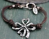Clover Bracelet -Four Leaf Clover Bracelet -Lucky Jewelry - Irish Bracelet  - Cowgirl Jewelry
