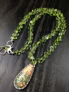 OOAK Ocean Jasper and Peridot Sterling Silver Necklace. Stop by and say hi at https://www.veronicawillingham.com/collections/veronica-willingham-resort-2017/products/ocean-jasper-and-peridot-sterling-silver-necklace