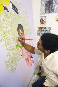 Kehinde Wiley- traditional portraiture and contemporary African motifs African American Artist, American Artists, Kehinde Wiley, Ap Art, Black Artists, Painting Inspiration, Art Inspo, Teaching Art, Art History