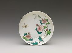 Dish with Peonies and Dragonfly. Qing dynasty (1644–1911), Qianlong mark and period (1736–95). Porcelain painted in overglaze famille rose enamels.