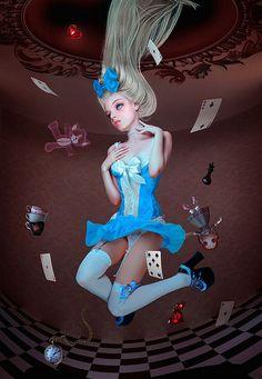 Alice Falling Down The Rabbit Hole in Wonderland.