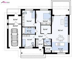 Z131 NF40 to wyjątkowy dom z kategorii projekty domów na wąską działkę Craftsman Floor Plans, House Floor Plans, Building Design, Building A House, Facade House, Future House, Planer, Tiny House, How To Plan