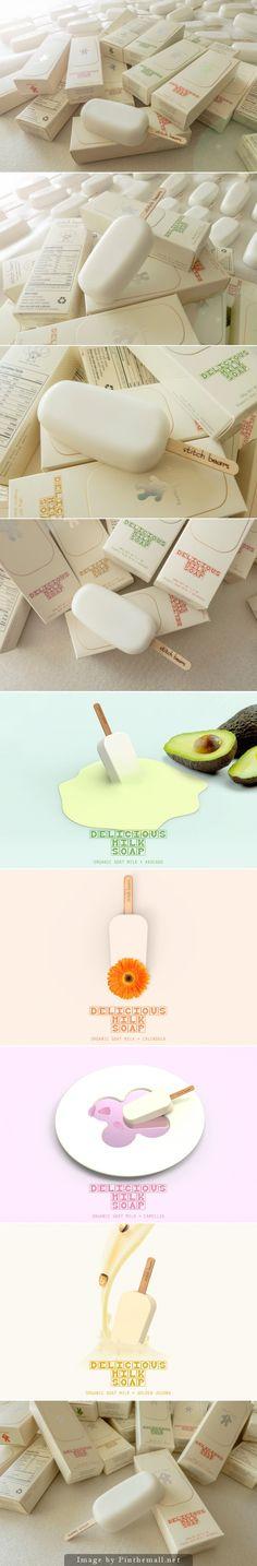 """這不是""""冰淇淋""""!這是一款肥皂,是不用""""冰淇淋""""來沐浴是非常匪夷所思的事情!但就是有這樣的""""牛奶冰淇淋肥皂"""" 來自韓國Ahhaproject 公司設計——Stitch Bears Milk #Soap, Creative Agency: Ahhaproject"""