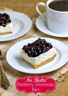 No-Bake Blueberry Cheesecake Bars #NoBakeCheesecake #desserts #NoBakeDesserts