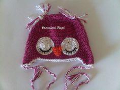 Cappellino cotone neonato a uncinetto gufetto di Handmadesfiopi
