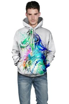 Pullover hoodie with White tiger print casual hoodie – menlivestyle Printed Hoodies, Tiger Print, Hooded Sweater, Cargo Pants, Christmas Sweaters, Graphic Sweatshirt, Pullover, Sweatshirts, Casual