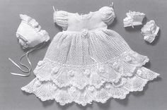 Crochet Christening Gown Outfit Baby dress por DelsieRhoades