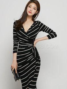 Ericdress Stripe V-Neck Sheath Dress 2