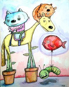 """""""El gatito decidió tomar las riendas de su vida, pero, típico de él, se equivocó y tomó las riendas de un caballo con cabeza de perro""""."""