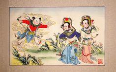 """Pintura año nuevo chino, Nianhua """"Dao Xian Cao"""".    Las llamadas """"Nianhua"""" o Pinturas tradicionales chinas de Año Nuevo,son una de las manifestaciones del arte tradicional chino más representativas de esta cultura.    Los orígenes de estas pinturas tradicionales chinas de Año Nuevo se remontan a la dinastía Ming. En China, la gente cuelga estas pinturas Nianhua en Año Nuevo con este fin, además de tenerlas en las casas todo el año por su indudable valor artístico y decorativo."""
