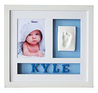 """BABYPRINT PERSONALISED WALL FRAME - BLUE LETTERS.  Item #008391.  Kit includes elegant shadow-box- frame, 7"""" x 5"""" acid free beveled mat, reversible pink/blue background board, 31 blue wooden (26 alphabet letters plus an extra set of vowel letters) letters size L4cm x W3.5cm, non-toxic air-drying impression material, rolling pin, ruler, double sided tape.  Frame size: L37.2cm x W40.3cm"""