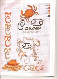 Borduurpatroon Sterrenbeeld Kruissteek *X-Stitch Pattern Zodiac ~Serie 3-7: Kreeft 22-06/23-07 *Cancer~