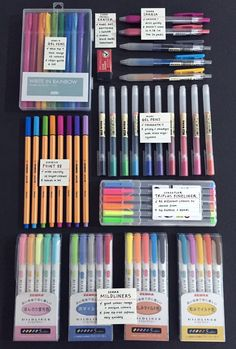 """studeying: """" """"a pic of (most) of my stationery + a short pro and con, taken … - Studying Tips - 2019 Stationary Supplies, Stationary School, Art Supplies, School Stationery, Office Supplies, School Suplies, Study Organization, Cute School Supplies, Cute Stationery"""