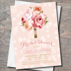 Bridal Shower Invitation, floral bridal shower invite, bridal invitation, pink, floral, DIY, Printable, bridal luncheon invitation by Oohlalovely on Etsy https://www.etsy.com/listing/200024779/bridal-shower-invitation-floral-bridal