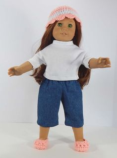 American Girl Doll Hat and Shoes by GranniesDollhouse on Etsy