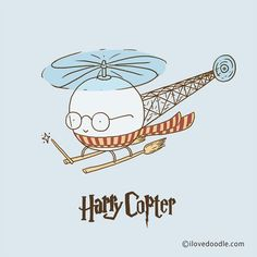Harry Copter ___________________________ Doodle Everyday by Lim Heng Swee @limhengswee http://www.ilovedoodle.com https://www.etsy.com/shop/ilovedoodle #ilovedoodle (at ilovedoodle.com)