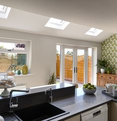 Roofing Types And Styles – Voyage Afield Kitchen Extension Velux Windows, Kitchen Diner Extension, House Extension Design, Roof Extension, Extension Ideas, Kitchen Interior, Kitchen Design, Conservatory Extension, Modern Conservatory
