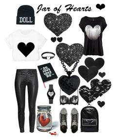 """""""jar of hearts... black heart"""" by pocketchangetees ❤ liked on Polyvore featuring H&M, Wild & Wolf, Pastease, La Perla, Betsey Johnson, Bristols6, Billabong and STELLA McCARTNEY"""