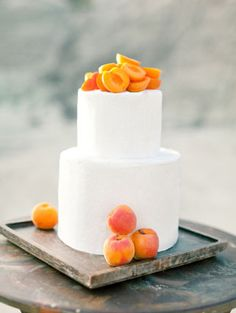 Apricot Wedding Cake | Brumley and Wells #orange #gray