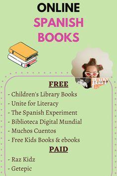 Spanish Books For Kids, Teach English To Kids, Free Kids Books, Spanish Language Learning, Teaching Spanish, Teaching English, Learn Spanish, Spanish Grammar, Teaching French