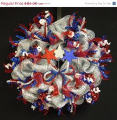 ON SALE Memorial Day Labor Day Veterans Day RWB by wreathsbyrobin