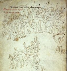 Lot returns, with sheep, recovered from the enemy, Prudentius' Psychomachia 'Conflict Of The Soul' Lyon, Bibliotheque du Palais des Arts, Ms. 22