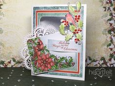 5 EZ cards I made from one sheet of Festive Holly paper - Heartfelt Creations