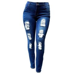 SL 1826 WOMENS PLUS SIZE Stretch Distressed Ripped BLUE SKINNY DENIM... (79 BRL) ❤ liked on Polyvore featuring jeans, blue skinny jeans, blue jeans, destroyed skinny jeans, distressed jeans and stretch jeans