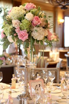 reception flowers...I like roses, the crystals and the hydrangea for fullness....we don't like the green