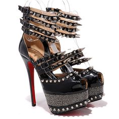 Christian Louboutin Isolde 160mm Copper Spiked 20th Anniversary Black